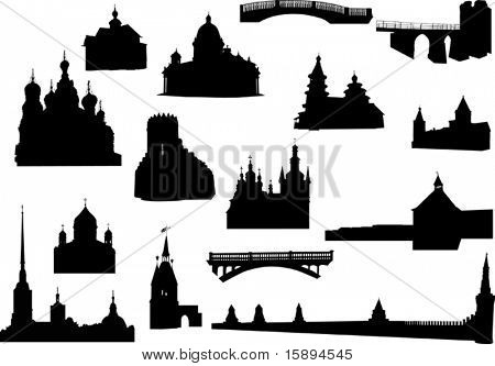 illustration with old buildings silhouettes collection isolated on white background