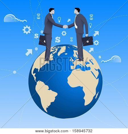 Global deal business concept. Confident businessmen in business suit shaking each other hands standing on earth globe. Deal agreement unity pact contract treaty.