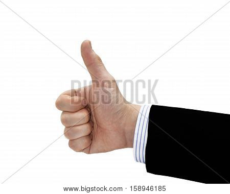 Businessman hand showing okay sign. Isolated on white background.