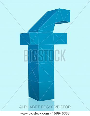 Abstract Blue 3D polygonal lowercase letter F with reflection. Low poly alphabet collection. EPS 10 vector illustration.
