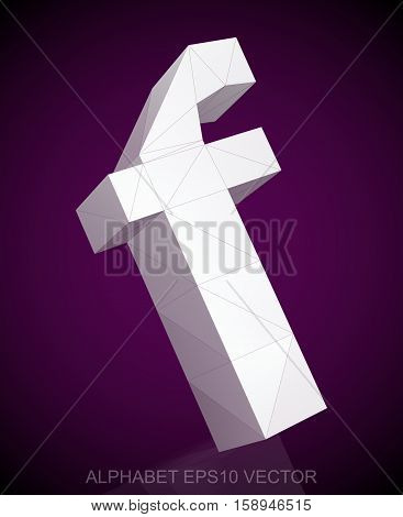Abstract White 3D polygonal lowercase letter F with reflection. Low poly alphabet collection. EPS 10 vector illustration.