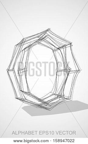 Abstract illustration of a Ink sketched lowercase letter O with Transparent Shadow. Hand drawn 3D O for your design. EPS 10 vector illustration.