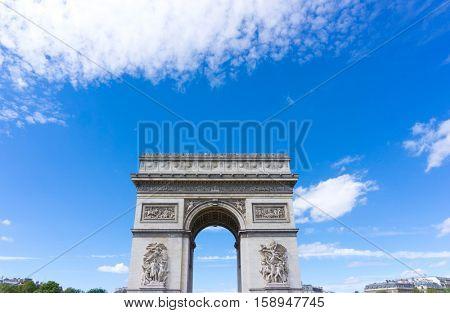 PARIS, FRANCE - August 28, 2016 : Arc de triomphe in Paris, one of the most famous monuments. August 28, 2016, Paris, France.