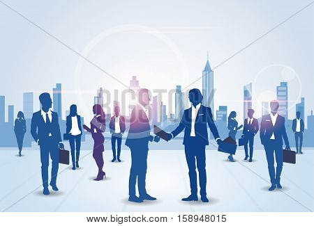 Business People Group Silhouette Meeting Speak Discussion Communication Concept Vector Illustration