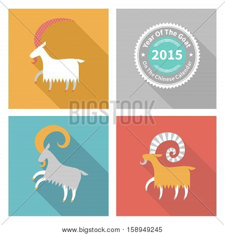 Vector Illustration Of Goat, Symbol Of 2015.