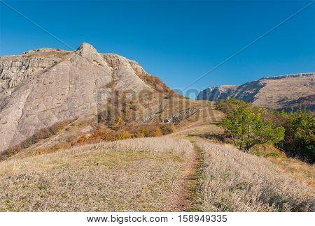 Path to Bald Ivan mountain at autumn season Crimean peninsula