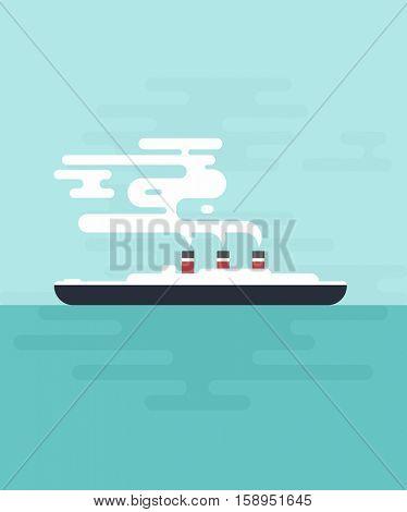 flat cartoon steamship