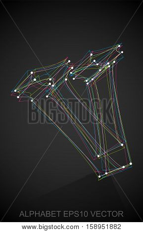 Abstract illustration of a Multicolor sketched lowercase letter V with Reflection. Hand drawn 3D V for your design. EPS 10 vector illustration.