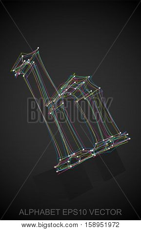 Abstract illustration of a Multicolor sketched lowercase letter H with Reflection. Hand drawn 3D H for your design. EPS 10 vector illustration.