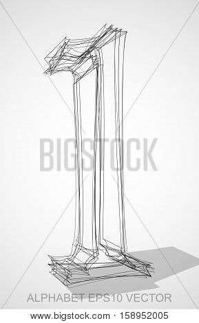 Abstract illustration of a Ink sketched 1 with Transparent Shadow. Hand drawn 3D 1 for your design. EPS 10 vector illustration.
