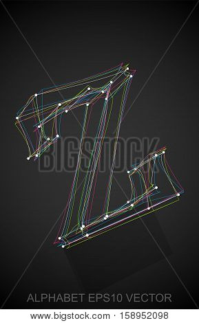 Abstract illustration of a Multicolor sketched lowercase letter Z with Reflection. Hand drawn 3D Z for your design. EPS 10 vector illustration.