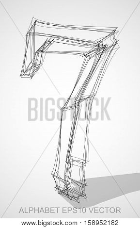 Abstract illustration of a Ink sketched 7 with Transparent Shadow. Hand drawn 3D 7 for your design. EPS 10 vector illustration.