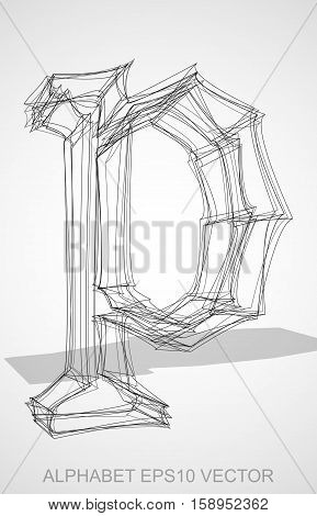 Abstract illustration of a Ink sketched lowercase letter P with Transparent Shadow. Hand drawn 3D P for your design. EPS 10 vector illustration.