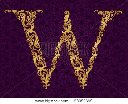 Gold Font Type Letter W, Uppercase.