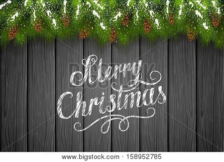 Winter theme, Christmas decorations with pinecone, decorative spruce branches with pine cones, snow and lettering Merry Christmas on a black wooden background, illustration.