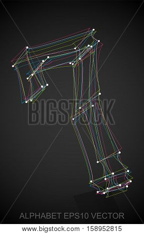 Abstract illustration of a Multicolor sketched 7 with Reflection. Hand drawn 3D 7 for your design. EPS 10 vector illustration.