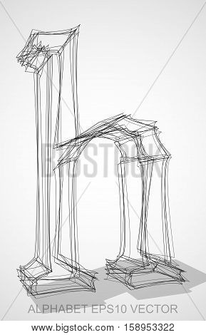 Abstract illustration of a Ink sketched lowercase letter H with Transparent Shadow. Hand drawn 3D H for your design. EPS 10 vector illustration.