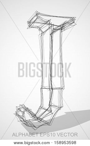 Abstract illustration of a Ink sketched uppercase letter J with Transparent Shadow. Hand drawn 3D J for your design. EPS 10 vector illustration.