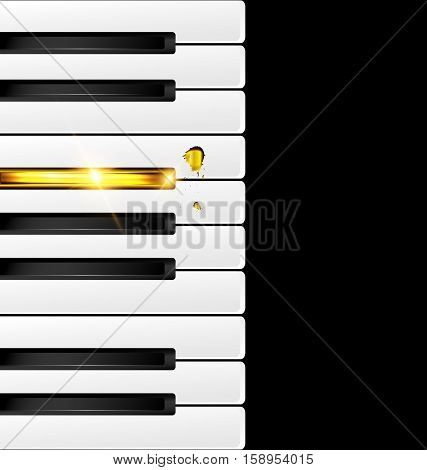 black background with abstract black-white and golden piano keys