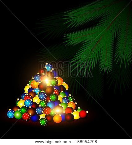 dark abstract room multicolored Christmas balls on the floor and the green branch of the large tree