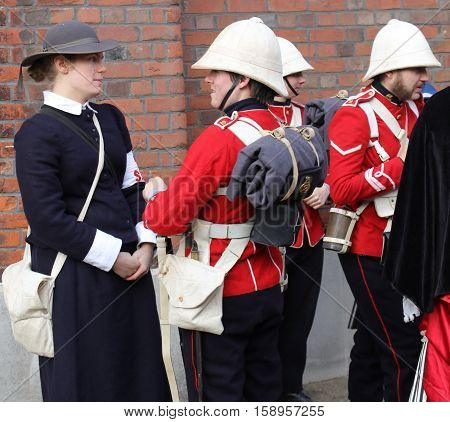 26TH NOVEMBER 2016, PORTSMOUTH DOCKYARD, ENGLAND:Unknown actors playing the part of  victorian soldiers at the yearly Christmas victorian festival in portsmouth dockyard,england,26th november 2016