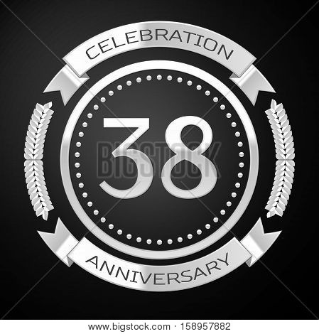 Thirty eight years anniversary celebration with silver ring and ribbon on black background. Vector illustration