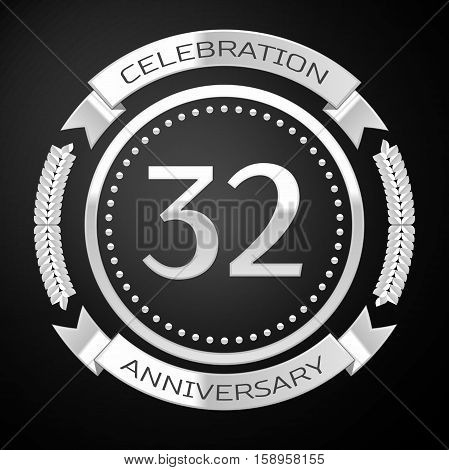 Thirty two years anniversary celebration with silver ring and ribbon on black background. Vector illustration
