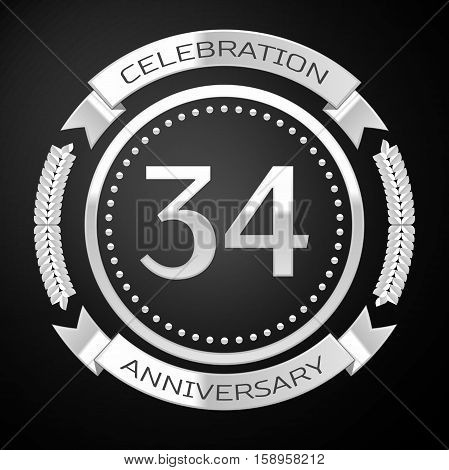 Thirty four years anniversary celebration with silver ring and ribbon on black background. Vector illustration
