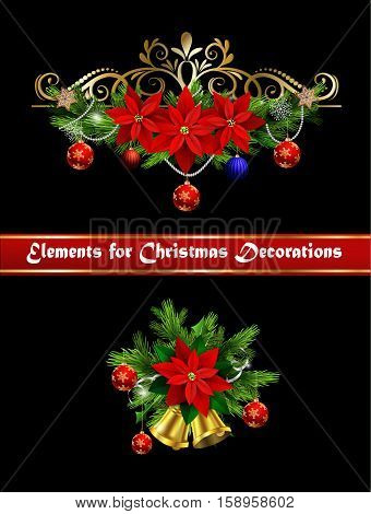 Christmas decoration set with evergreen treess holly and bells and poinsettia and ribbon isolated