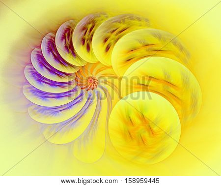 Simple fractal spiral - abstract computer-generated image. Digital art: aquamarine helix with glossy textured surface. For covers puzzles web design