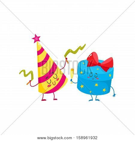 Cute and funny gift box and birthday hat characters, cartoon vector illustration isolated on white background. Smiling present, gift and paper core hat characters, birthday celebration party elements