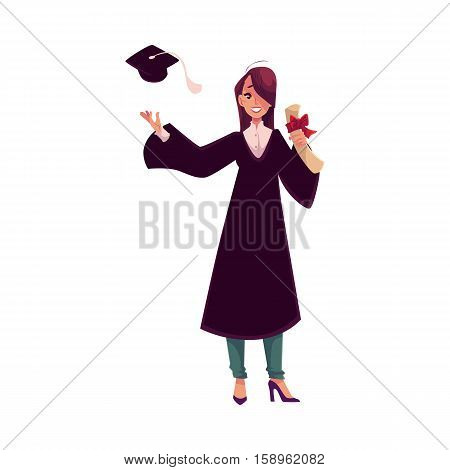 Female student in traditional gown throwing her cap and holding diploma, cartoon style illustration isolated on white background. Pretty girl in academic dress celebrating graduation from University