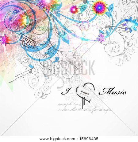 Handdrawn elementos de diseño floral. Diseño de música primavera. EPS 10.