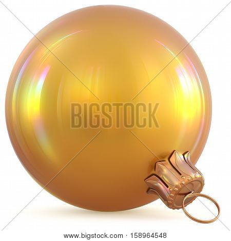 Golden Christmas ball yellow gold New Years Eve decoration bauble wintertime adornment souvenir. Traditional hanging ornament happy winter holidays Happy Merry Xmas symbol blank shiny. 3d illustration