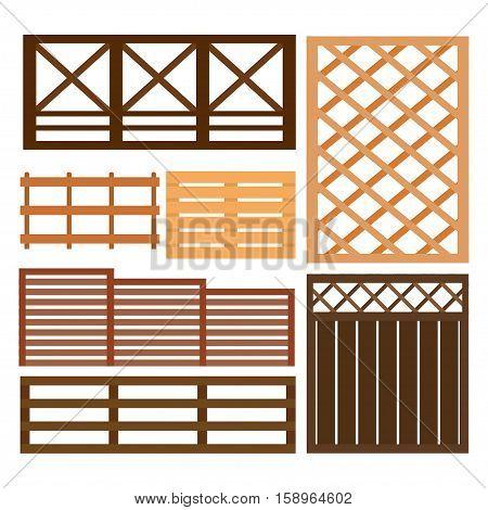 decorative multicolour fences set with gates flat isolated vector illustration many fence design elements illustration