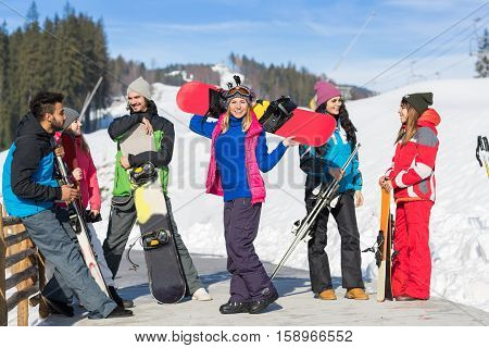Group Of People Ski And Snowboard Resort Winter Snow Mountain Cheerful Happy Smiling Friends Talking Holiday Extreme Sport Vacation