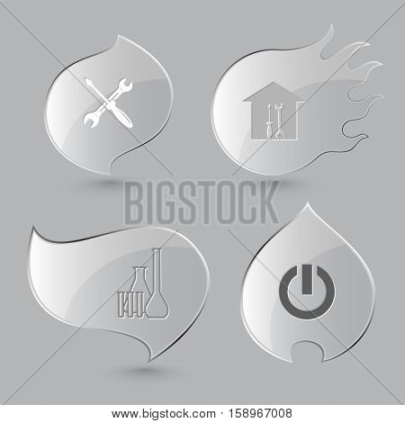 4 images: screwdriver and spanner, workshop, chemical test tubes, switch element. Tehnology set. Glass buttons on gray background. Fire theme. Vector icons.