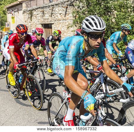 Mont Ventoux France - July 142016: The Italian cyclist Fabio Aru of Team Astana riding on the road to Mont Ventoux during the stage 12 of Tour de France 2016.