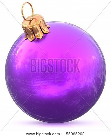 Christmas ball bauble New Year's Eve blue purple decoration shiny wintertime hanging sphere adornment souvenir. Traditional ornament happy winter holidays Merry Xmas symbol closeup. 3d illustration