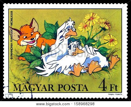 STAVROPOL RUSSIA - November 28 2016: A stamp printed in Hungary shows Pup and Geese - heroes childlike TV programs cartoons series circa 1982