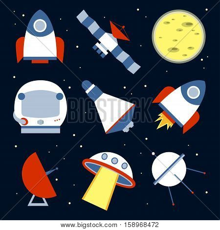 Spacecraft Vector illustration Icons spacecraft in a flat design on the starry sky background