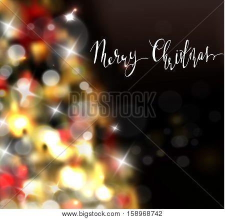 Christmas tree light background. Vector on dark with handwritten Merry Christmas
