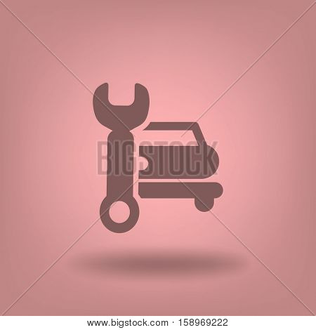 Flat icon. Car repair. Vector image of the machine and a wrench.