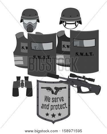 Serve and protect vector illustration. Bulletproof vests rifle binoculars helmets and mask for SWAT and police. Flat style.