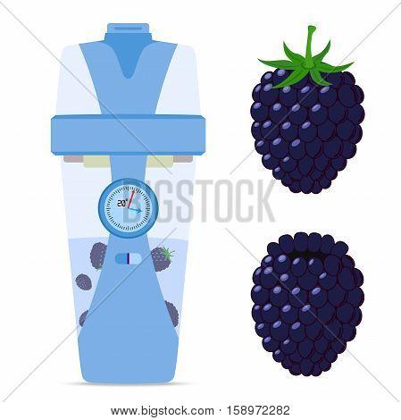 Smart wireless bottle with blackberry berry nutrition drink. Hipster modern device.