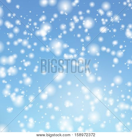 Vector background with the image of falling snow in the sky. Decorating for Christmas cards and banners.