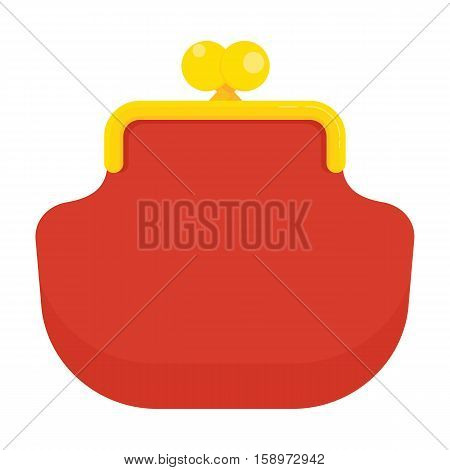 Red retro coin purse icon. Storage of money accumulation of funds. Flat vector cartoon wallet illustration. Objects isolated on a white background.