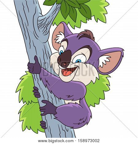 Cute and happy cartoon koala bear climbing the tree isolated on white background. Childish vector illustration and colorful book page for kids.