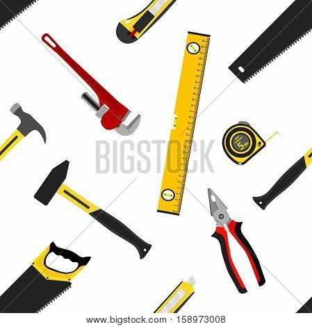 Seamless pattern with repair working tools in flat vector style. Measure tape saw hammers wrench spanner waterpas pliers isolated.