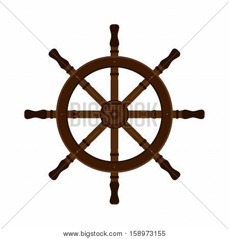 Wooden ship helm in flat vector style. For yacht clubs sailboats and ship design.